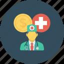 cash, coin, cross, doctor, medical, medicine, nurse