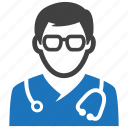 doctor, hospital, male, medical, physician, stethoscope icon