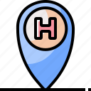 emergency, healthcare, hospital, location, map, medical icon
