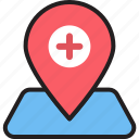 clinic, clinic location, doctor, hospital, hospital location, hospital pin, medicine icon