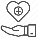 charity, donation, hand, health, heart, medical, transfusion icon