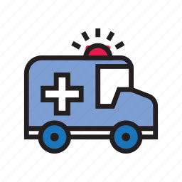 ambulance, driver, hospital, medical, red cross, sirine, transportation icon