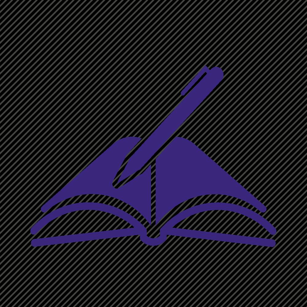 Book, comment, complaint, note, open book, pen, write icon