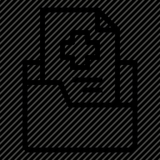 document, file, folder, hospital, medical, paper, report icon
