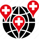 clinic, geo targeting, hospital, locations, map markers, medical, pointer icon