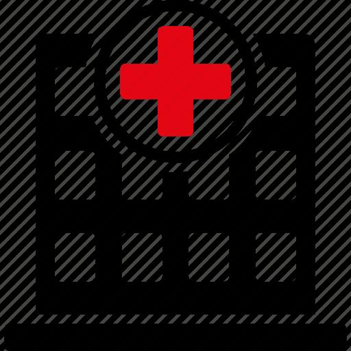 ambulance base, clinic center, doctor office, emergency entrance, hospital building, medical company, pharmacy shop icon