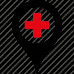 ambulance base, clinic marker, doctor office, emergency entrance, hospital building, map pointer, medical company icon