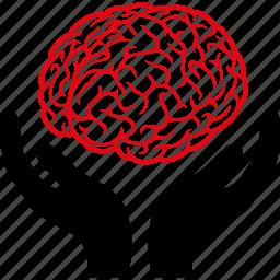 anatomy, brain, hands, intellect, intelligence, mind, psychology icon