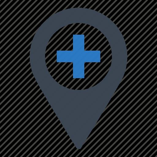hospital, location, map icon