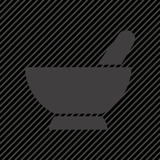 apothecary, chemical vessel, mortar, pestle, pharmacy, pistil, pounder icon