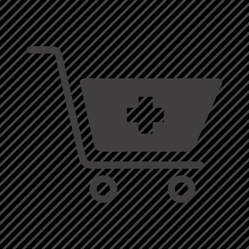 basket shopping, cart, drugs, drugstore, medicine, pharmacy, trolley icon