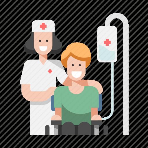 Care, handicapped, medical, nurse, nursing, patient, wheelchair icon - Download on Iconfinder