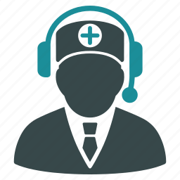 call center, doctor, emergency service, headphone, hotline number, phone operator, reception icon