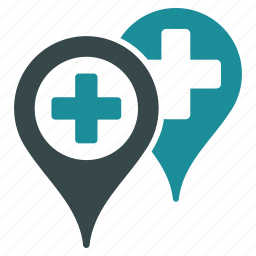 gps, location, map markers, medical, navigation, point, pointer icon