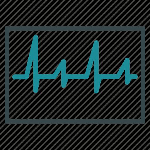 beat, cardiogram, cardiology, curve, ecg, heartbeat, pulse icon