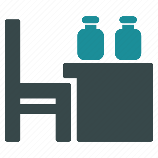 bottles, chair, desk, office, service, table, workplace icon