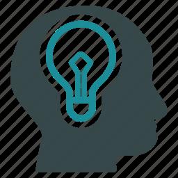 brain, bulb, education, idea, lamp, mind, think icon