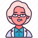 avatar, doctor, glasses, medical, old, specialist, woman icon