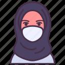 coronavirus, doctor, face mask, female, hijab, medical, muslim icon