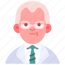 avatar, doctor, glasses, man, medical, old, specialist icon
