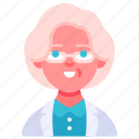 woman, specialist, old, avatar, doctor, glasses, medical icon