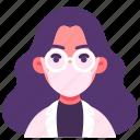 avatar, doctor, female, glasses, mask, medical, woman
