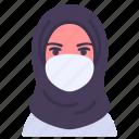 coronavirus, doctor, face mask, female, hijab, medical icon