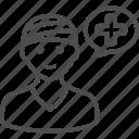 boy, injured, man, patient, sick, speech bubble, talking