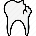 clean, cracked, dentist, equipment, hygiene, medical, tooth icon