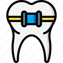 braces, clean, dentist, hygiene, medical, straighten icon