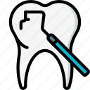dentist, equipment, excavator, hygiene, medical, tool, tooth icon