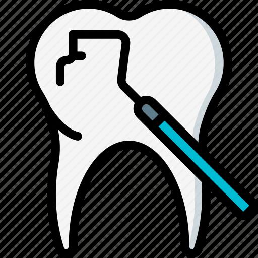 dentist, equipment, excavator, hygiene, medical, tool, tooth icon
