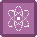 atom, physics, proton, science icon