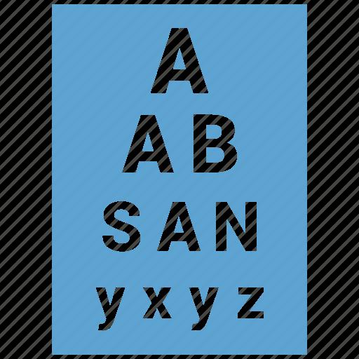 chart, eyetest, optometrist, sight, vision icon