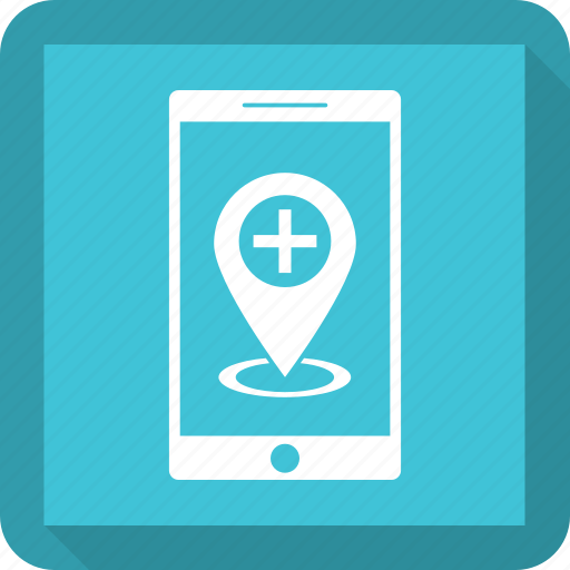 hospital location, medical location, mobile, navigation icon