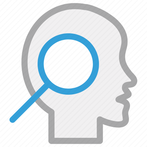 brain, experiment, magnifying, mind icon