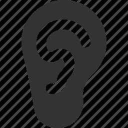 audio, communication, ear, hear, listen, sound, speaker icon