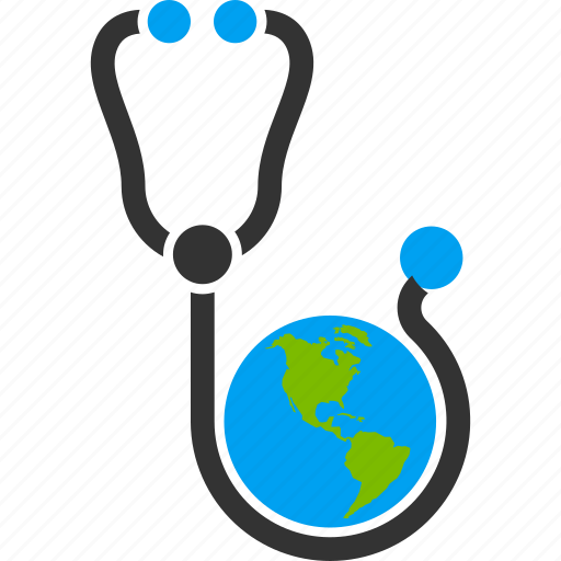 global healthcare, globe, health, international assistance, medical, medicine, stethoscope icon