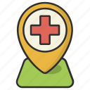 hospital location, medical location, navigation location, pharmacy location icon