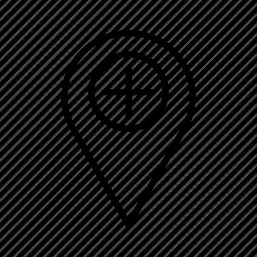 gps, hospital address, hospital location icon