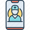 consultation, doctor, healthcare, medical, mobile, mobile healthcare, urgent icon