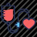 blood transfusion, bulb, drip, heart icon