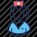 female, hospital, medical employee, nurse icon