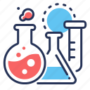 flasks, fluid, laboratory, medical analisys icon