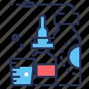 inhaler, medicines, nasal spray, water glass icon