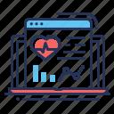 cardiogram, graph, health, laptop icon