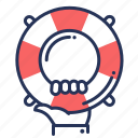 emergency, hand, lifesaver, safety ring icon