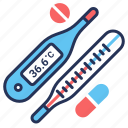 fever, pills, temperature, thermometers icon