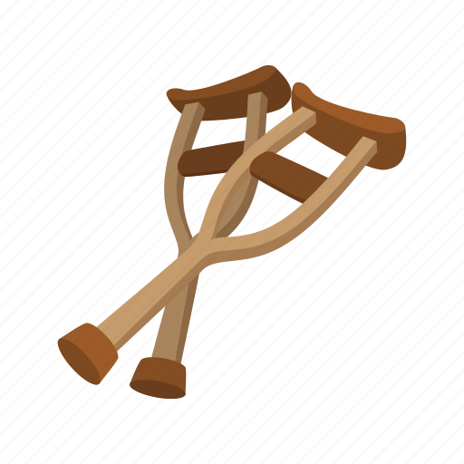 accident, cartoon, crutch, hospital, injury, medical, support icon