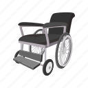 care, cartoon, chair, disabled, hospital, wheel, wheelchair icon